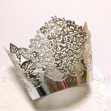 Cupcake Wrappers | Metallic Silver Cupcake Liners | Floral Filigree Cake Wraps Decoration Party Baby Shower Birthday Wedding (12pcs) CP03S