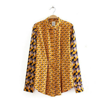 Pleated Geometric Print Long-Sleeve Collared Shirt