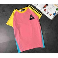 PALACE 2018 Vintage Multicolor Stitching Chest Classic Logo Print T-Shirt F-XMCP-YC Pink