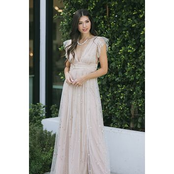 Wendy Tulle Ruffle Sleeve Maxi Dress