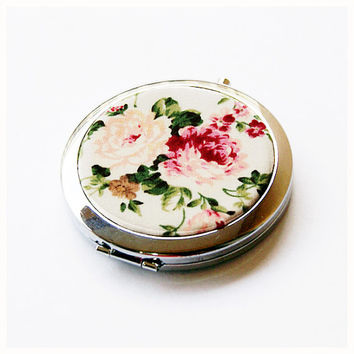 Compact Mirror, Cosmetic Mirror with Pouch - Antique Roses
