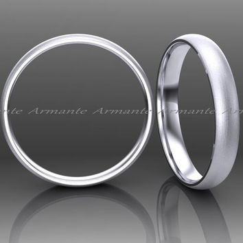 Classic Rounded Wedding Band Ring 14K White Gold 2.50mm Wide