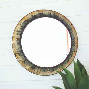 Round Distressed Metal Mirror