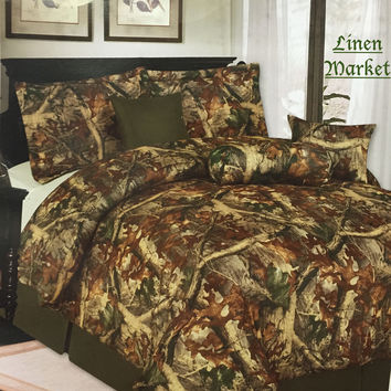 Luxury Camouflage Comforter Bedroom Set - 7 Piece Set
