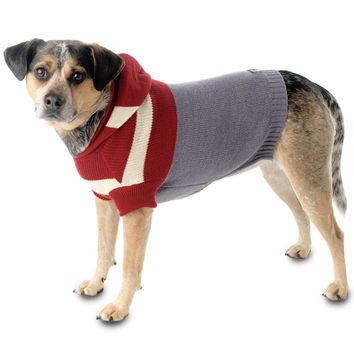 Harley's Red & Grey Stripe Hooded Dog Sweater