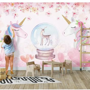 beibehang 2018 New Fashion Personality Decorative Painting Stereo Watercolor Unicorn wall papers home decor wallpaper behang