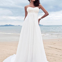 Chiffon Empire Wedding Dresses With Appliques Hand Made Beaded Maternity Beach Bridal Gown