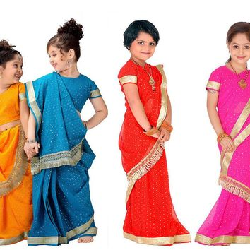 National Indian Clothing Children Sari Dress Classic Georgette Paillette Kids Saree 8Sizes Free Shipping