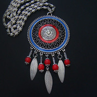 Large Pendant with rhinestones Chain necklace Pendant necklace Women gift  Red blue silver necklace Everyday jewelry Medallion Bar Necklace