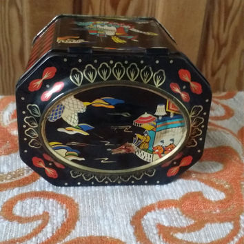 Vintage loose tea tin coffee jar black oriental metal canisters bohemian home 70s decor boat scene candy tins teabags Dolly Topsy Etsy UK