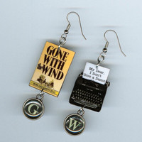 Gone with the Wind  Book Cover Earrings Vintage typewriter Quote