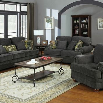 2 pc colton collection smokey grey chenille fabric upholstered sofa and love seat with rounded arms and decorative throw pillows