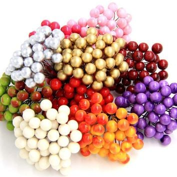 40pcs 80heads Mini Fake Fruit Small Berries Artificial Flower cherry Bouquet Stamen Wedding Home Christmas Decorative