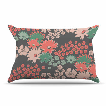 "Zara Martina Mansen ""Natures Bouquet"" Coral Green Pillow Case"