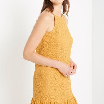 Mustard Alice Ruffle Hem Dress