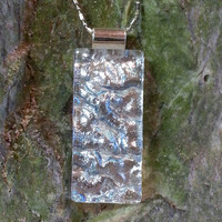 Dichroic Glass Pendant - Silver Dichroic Pendant - Dichroic Fused Glass Jewelry