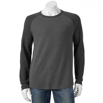 SONOMA life + style Classic-Fit Colorblock Raglan Thermal Tee - Big & Tall, Size: