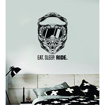 Eat Sleep Ride Helmet Dirtbike Motorcycle Sports Decal Sticker Bedroom Room Wall Vinyl Art Home Decor Teen Sports Moto X Rider Biker Race
