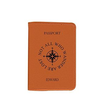 Not All Those Who Wander Are Lost [Name Customized] Leather Passport Holder - Passport Protector - Passport Cover - Passport Wallet_Mishkaa