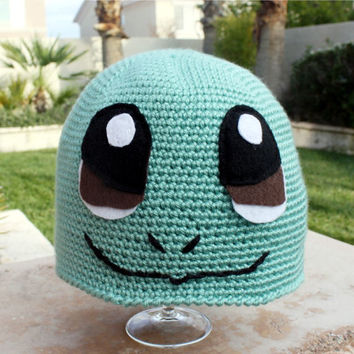 Squirtle -ish Hat : Kawaii Cool Pokemon Japanese-ish Handmade Crochet Beanie Hat