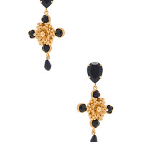 Dolce & Gabbana Cross Earrings in Gold & Black | FWRD
