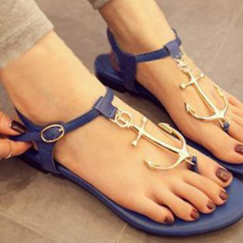 Navy Style Anchor Connecting Thong Sandals