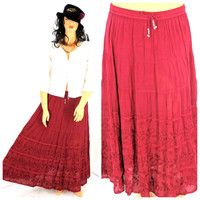 Vintage 80s boho Indie Hippie maxi skirt size L to XL, Vision by Shirin 1980s long peasant skirt, embroidered merlot skirt, SunnyBohoVintage