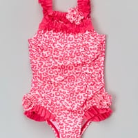 Absorba Pink Leopard Skirted One-Piece - Infant & Toddler | zulily