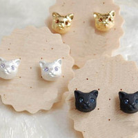 Gold Cat Stylish Cute Fashion Earrings Jewelry