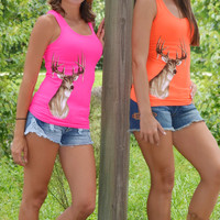 Neon cute deer hunting tank top