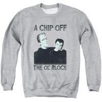 MUNSTERS/CHIP - ADULT CREWNECK SWEATSHIRT - ATHLETIC HEATHER -
