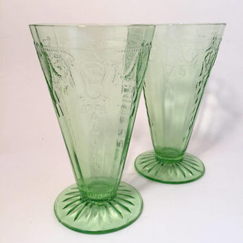 Green Depression Glass Tumblers, Anchor Hocking Cameo Parfait Glasses, Cameo Ballerina, Green Footed Glasses
