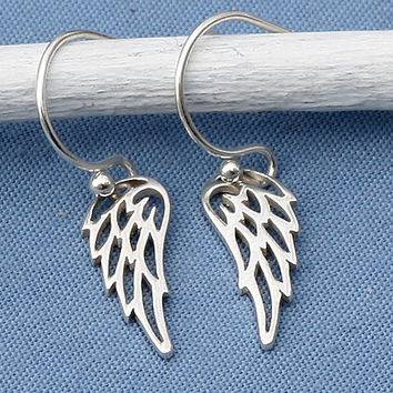 Silver Angel Wing Earrings,Sterling Silver, Bird Wing,Angel,Faith Jewelry,Faith Necklace,Faith,Memorial,Simple,Everyday,Minimal,Modern