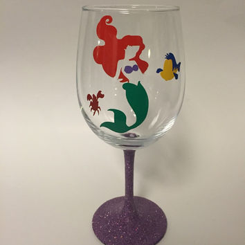 Little Mermaid glass, wine, stemless, or Tumbler with Straw
