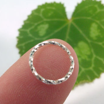 Silver Hoop Piercing Ring in Diamond Cut Silver Wire