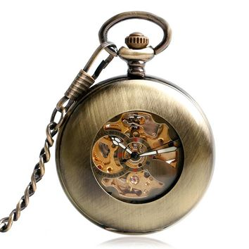 Vintage Bronze Steampunk Pocket Watch Automatic Mechanical Retro Copper Fob Pendant Watches Men Women Smooth Case Hour Gift