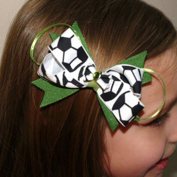 custom colors soccer hair bow by mylittlebows on Etsy