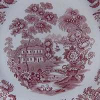 Clarice Cliff DInner Plate Royal Staffordshire Tonquin Red Transfer Ware