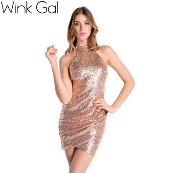 Wink Gal Sexy Club Dress Gold Sequined Backless Women Pencil Dress Bodycon Dresses Sexy Midi Prom Christmas 3040