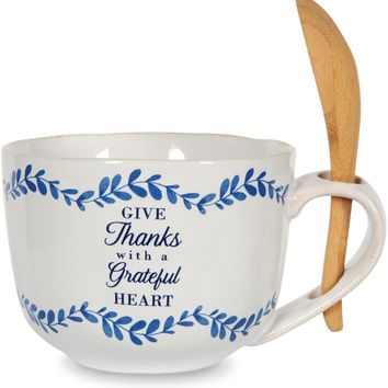 Give Thanks with a Grateful Heart Soup Bowl with Bamboo Spoon