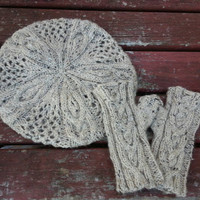KNITTING PATTERNS: Outlander inspired fingerless glove and beret set Coupon Available!