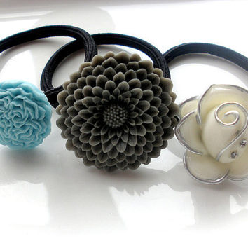 Spring Showers silver gray white aqua ponytail holders hairbands hair accessories lot of 3 set rhinestones