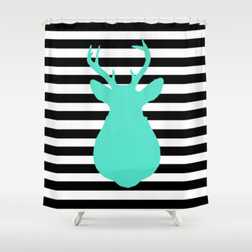 Blue Deer & Black and white stripes Shower Curtain by Allyson Johnson