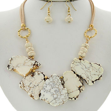 Ivory Stone Slab Necklace