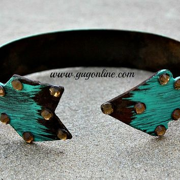 Painted Turquoise Metal Arrow Cuff with Crystals
