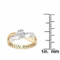 18k Gold over Silver Two-tone 'One Life, One Love' Engraved Claddagh Diamond Ring | Overstock.com