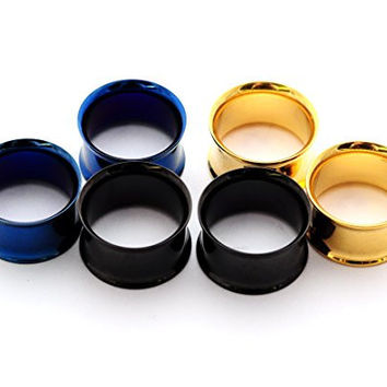 "Set of 3 Pairs Steel Double Flare Tunnels - 7/16"" - 11mm - (Blue, Gold, Black)"