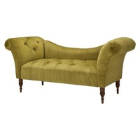 Skyline Furniture Button Tufted Velvet Chaise Settee - Green
