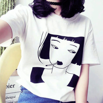 Tumblr Shirt - Aesthetic Clothing - Feminist - Feminism - Girl Power - Grunge - Vaporwave - Funny Shirt - Cyber - Gifts - Smoking Girl