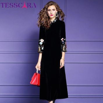 TESSCARA Women Winter Luxury Embroidery Dress Festa Female Long Party Robe High Quality Chinese Style Designer Vintage Vestidos